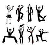 Dancers, singers man, woman set Royalty Free Stock Photo