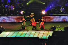 Dancers on stage. Overlooking a theatrical performance or concert with dancers on stage Royalty Free Stock Photo