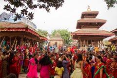 Dancers of Teej festival, Durbar Square, Kathmandu, Nepal Royalty Free Stock Photos