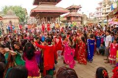 Dancers of Teej festival, Durbar Square, Kathmandu, Nepal Stock Photos