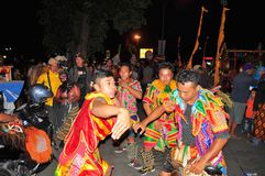 Dancers in traditional clothes, Yogyakarta city Stock Images