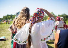 Dancers in traditional dress performs folk dance. Cosmos Village, Almaty Province, Kazakhstan - 16 August 2015: The festival of ethnic music Forey, a lot of stock photos