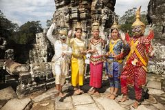 Dancers with typical costume in Angkor wat Stock Image
