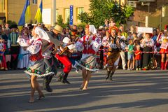 Dancers in ukrainian traditional clothing during festival