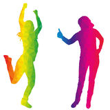 Dancers. Vector silhouette dancers of low poly style Royalty Free Stock Images