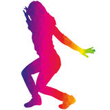 Dancers. Vector silhouette dancers of low poly style Stock Photos