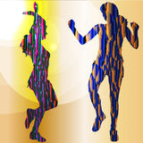 Dancers. Vector silhouette dancers of low poly style Stock Images