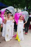"Dancers Vietnamese in dress "" Ao Dai "" Royalty Free Stock Photo"