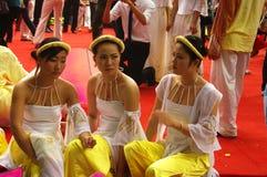 """Dancers Vietnamese in dress """" Ao Dai """" Stock Image"""