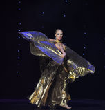 The dancers wear gold clothes-the Austria's world Dance Royalty Free Stock Photos