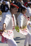 Dancers in white dress on the Japanese traditional parade on EXPO 2015 Royalty Free Stock Images