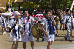 Dancers in white dresses on the Japanese traditional parade on EXPO 2015 Royalty Free Stock Images