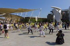 Dancers in white dresses on the Japanese traditional parade on EXPO 2015 Royalty Free Stock Photography