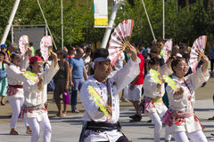 Dancers in white dresses on the Japanese traditional parade on EXPO 2015 Royalty Free Stock Photos