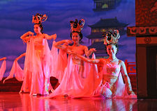 Dancers of the Xian Dance Troupe. XIAN - NOVEMBER 23: Dancers of the Xian Dance Troupe perform the famous Tang Dynasty show at the Xian Theatre on November 23 royalty free stock images
