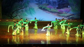 Dancers of the Xian Dance Troupe perform the famous Tang Dynasty show at the Xian Theatre, China stock video footage