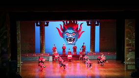 Dancers of the Xian Dance Troupe perform the famous Tang Dynasty show at the Xian Theatre, China stock video