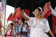 Mexican folkloric ballet. Dancers of Xochicalli Mexican folkloric ballet in a concert on Grand Place during 12 edition of Folklorissimo Festival on September 15 Stock Photos