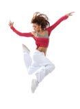 Dancin sautant de nouvelle de hip-hop adolescente mince assez moderne de style images libres de droits