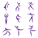 Dancing abstract people, symbols. Illustration Stock Image