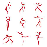Dancing abstract people, symbols. Illustration Royalty Free Stock Image