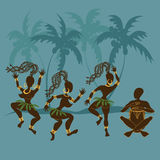 Dancing African aborigine girls and drummer Stock Photo