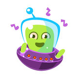 Dancing alien in a flying saucer, cute cartoon monster. Colorful vector character Royalty Free Stock Photos
