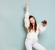 Dancing alla moda della donna di modo e foto di fabbricazione Immagine Stock