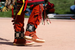 Dancing American Native feet during pow wow Royalty Free Stock Photo