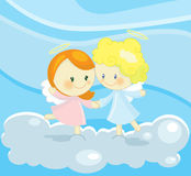 Dancing angels. Illustration about 2 cute little angel dancing on a soft cloud up in the blue sky Royalty Free Stock Photography