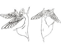 Dancing angels. Black and white vector illustration Royalty Free Stock Image