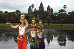 Dancing in angkor Stock Images