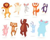 Dancing animals vector animalistic character lion bear fox in childish dance illustration set of monkey pig rabbit stock illustration