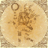 Dancing-armed goddess. Freehand drawing. Royalty Free Stock Photos