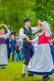 Dancing around the maypole in Midsummer Stock Photos