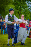Dancing around the maypole in Midsummer Royalty Free Stock Photos