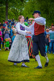 Dancing around the maypole in Midsummer Royalty Free Stock Photo