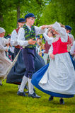 Dancing around the maypole in Midsummer Stock Photography