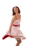 Dancing asian girl. Dance. Fantastic positive girl in retro dress. Isolated over white Stock Photography