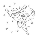 Dancing astronaut in outer space, vector Stock Images