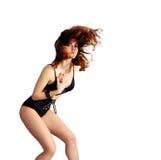 Dancing attraente della giovane donna, volo dei capelli fotografia stock libera da diritti