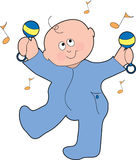Dancing Baby Boy. A baby boy dancing with marachas in his pajamas Stock Image