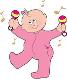 Dancing Baby Girl. A baby girl dancing with marachas in his pajamas Stock Photos