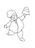 Dancing baker. Black and white illustration of a baker dancing with layer cakes royalty free illustration