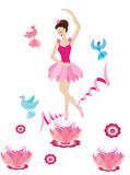The dancing ballerina. With beautiful birds Royalty Free Stock Image