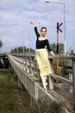 Young ballerina outdoor royalty free stock image