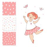Dancing ballerina and 3 seamless vector patterns. Surface design for kids. Stock Photography