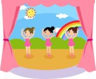 Dancing ballerinas. Illustration of three cute dancing ballerinas Royalty Free Stock Photography
