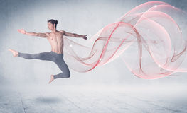 Dancing ballet performance artist with abstract swirl Stock Image