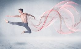 Dancing ballet performance artist with abstract swirl stock photo